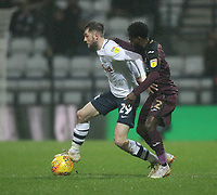 Preston North End's Tom Barkuizen battles with  Swansea City's Nathan Dyer<br /> <br /> Photographer Mick Walker/CameraSport<br /> <br /> The EFL Sky Bet Championship - Preston North End v Swansea City - Saturday 12th January 2019 - Deepdale Stadium - Preston<br /> <br /> World Copyright © 2019 CameraSport. All rights reserved. 43 Linden Ave. Countesthorpe. Leicester. England. LE8 5PG - Tel: +44 (0) 116 277 4147 - admin@camerasport.com - www.camerasport.com