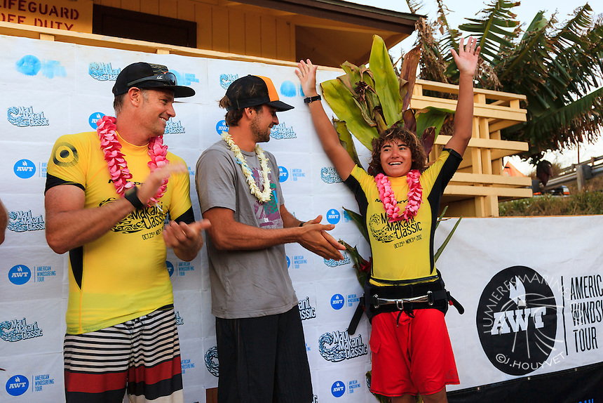 Marcilio Browne, Bernd Roediger and Kevin Pritchard winners of the 6th and final stop of the 2012 American Windsurfing Tour (AWT), in Ho'okipa Beach Park (Maui, Hawaii, USA)