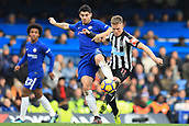 2nd December 2017, Stamford Bridge, London, England; EPL Premier League football, Chelsea versus Newcastle United; Alvaro Morata of Chelsea tackles Matt Ritchie of Newcastle United