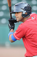 Infielder Jonathan Villar (3) of the Lakewood BlueClaws, Class A affiliate of the Philadelphia Phillies, in a game against the Greenville Drive on May 13, 2010, at Fluor Field at the West End in Greenville, S.C. Photo by: Tom Priddy/Four Seam Images