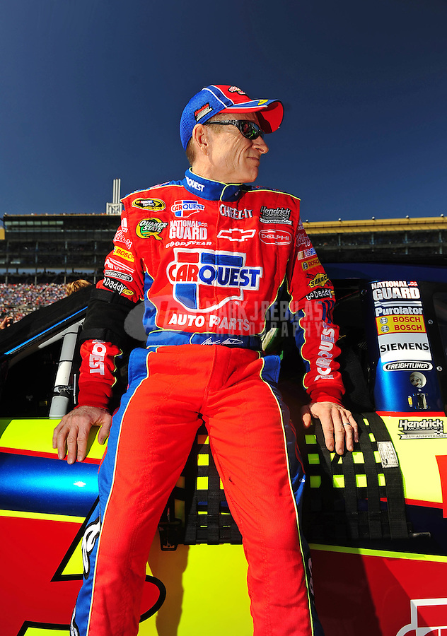 Oct. 4, 2009; Kansas City, KS, USA; NASCAR Sprint Cup Series driver Mark Martin prior to the Price Chopper 400 at Kansas Speedway. Mandatory Credit: Mark J. Rebilas-