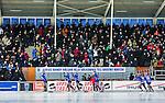 Uppsala 2014-12-26 Bandy Elitserien IK Sirius - Hammarby IF :  <br /> Sirius spelare Joel Wigren , Max Eriksson , Patrik Johansson och Mattias Hammarstr&ouml;m med lagkamrater h&auml;lsar p&aring; publiken nedanf&ouml;r huvudl&auml;ktaren inf&ouml;r matchen mellan IK Sirius och Hammarby IF <br /> (Foto: Kenta J&ouml;nsson) Nyckelord:  Bandy Elitserien Uppsala Studenternas IP IK Sirius IKS Hammarby HIF Bajen Annandag Jul Annandagen supporter fans publik supporters