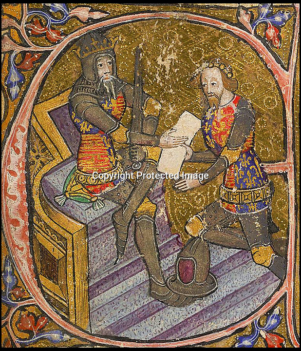 BNPS.co.uk (01202 558833)<br /> Pic MichaelJones/BNPS<br /> <br /> The Black Prince receiving the kingdom of Aquitaine from his father Edward III.<br /> <br /> The Black Prince finally becomes whiter than white...<br /> <br /> The 637 year stain on the reputation of one of Britains medieval heroes has finally been removed after an authors meticulous research has proved the 'Massacre of Limoges' was actually committed by vengeful French soldiers against their own countrymen.<br /> <br /> Edward of Woodstock's reputation has been tarnished by the account of a French chronicler who claimed he ordered the massacre of 3,000 innocent people in the French town of Limoges during the Hundred Years War between England and France. <br /> <br /> The Prince, eldest son and heir of Edward III, has been known as The Black Prince since the 16th century because of the massacre and is still vilified in some quarters in France to this day.<br /> <br /> However, remarkable new evidence has emerged which suggests Edward, who was the ruler of Aquitaine in south-western France, did not order the massacre during the sack of Limoges on September 19, 1370.<br /> <br /> In fact, it was the French forces who butchered 300 of their countrymen as a reprisal, because they opened the gates of Limoges to the rampaging English.
