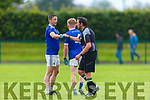 Referee Cathal  Dúbhda and Jonathan Carey Laune Rangers  fist pump after their IFC clash in Killarney Friday evening