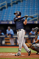Jacson McGowen (26) takes a practice swing during the Tampa Bay Rays Instructional League Intrasquad World Series game on October 3, 2018 at the Tropicana Field in St. Petersburg, Florida.  (Mike Janes/Four Seam Images)