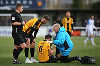 Aron Davies of Maidstone United, on loan from Fulham, receives treatment after suffering a painful injury during Maidstone United vs Havant and Waterlooville, Vanarama National League Football at the Gallagher Stadium on 9th March 2019