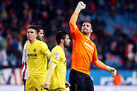 Sergio Asenjo and Costa of Villarreal during La Liga match between Atletico de Madrid and Villarreal at Vicente Calderon stadium in Madrid, Spain. December 14, 2014. (ALTERPHOTOS/Caro Marin) /NortePhoto