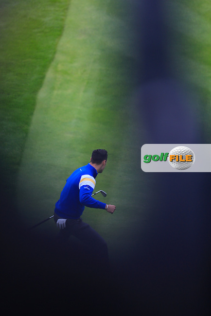 Martin Kaymer (EUR) on the 16th green puts to win his game during the Sunday Singles Matches at the 2014 Ryder Cup at Gleneagles. The 40th Ryder Cup is being played over the PGA Centenary Course at The Gleneagles Hotel, Perthshire from 26th to 28th September 2014.<br /> Picture:  Thos Caffrey / www.golffile.ie