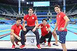 (L-R) Katsumi Nakamura, Yasuhiro Koseki, Ryosuke Irie, Takuro Fujii (JPN), <br /> AUGUST 13, 2016 - Swimming : <br /> the Rio 2016 Olympic Games at Olympic Aquatics Stadium in Rio de Janeiro, Brazil. <br /> (Photo by Yohei Osada/AFLO SPORT)