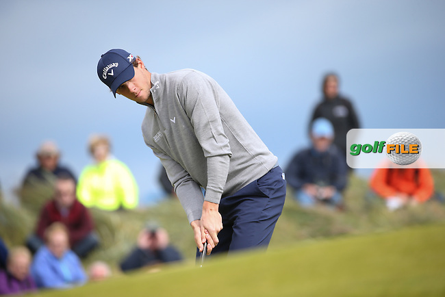 Thomas Pieters (BEL) during Round One of the 2016 Aberdeen Asset Management Scottish Open, played at Castle Stuart Golf Club, Inverness, Scotland. 07/07/2016. Picture: David Lloyd | Golffile.<br /> <br /> All photos usage must carry mandatory copyright credit (&copy; Golffile | David Lloyd)