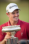 Justin Rose of England shows off his trophy after winning UBS Hong Kong Open golf tournament at the Fanling golf course on 25 October 2015 in Hong Kong, China. Photo by Aitor Alcade / Power Sport Images