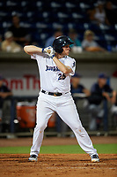 Pensacola Blue Wahoos Shrimp first baseman Gavin LaValley (25) at bat during a game against the Jacksonville Jumbo on August 15, 2018 at Blue Wahoos Stadium in Pensacola, Florida.  Jacksonville defeated Pensacola 9-2.  (Mike Janes/Four Seam Images)