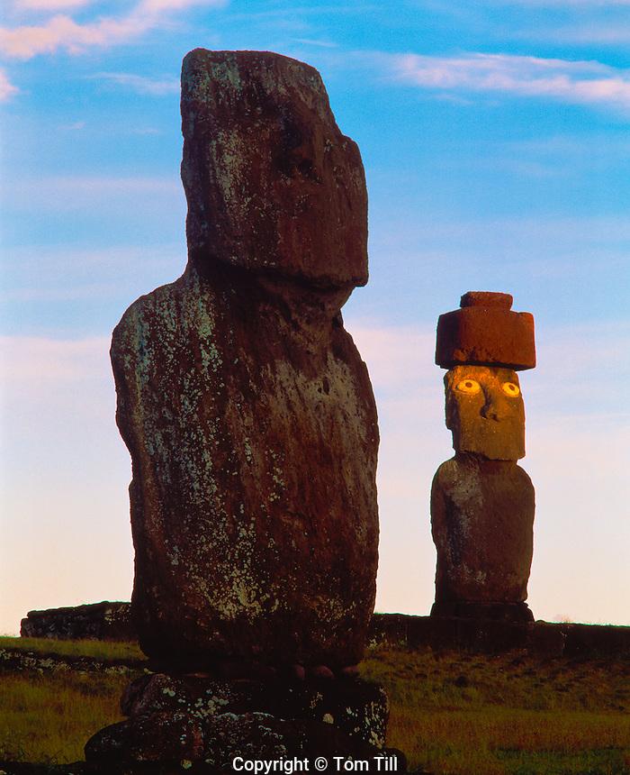 Moai Statues at Dawn, Ahu Ko Te Riku, Easter Island, Chile  Rapa Nui National Park   South Pacific Ocean Near Hanga Roa   Giant stone statues