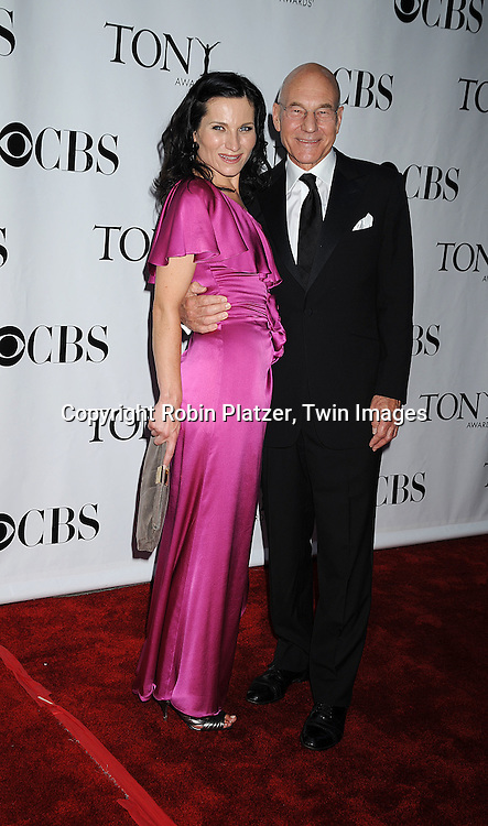 Kate Fleetwood and Patrick Stewart.posing for photographers at the 62nd Annual Tony Awards.on June 15, 2008 at Radio City Music Hall. ..Robin Platzer, Twin Images