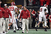January 8th 2018, Atlanta, GA, USA; Alabama Crimson Tide head coach Nick Saban reacts after Georgia Bulldogs wide receiver Mecole Hardman (4) scores a touchdown during the College Football Playoff National Championship Game between the Alabama Crimson Tide and the Georgia Bulldogs on January 8, 2018 at Mercedes-Benz Stadium in Atlanta, GA.