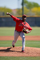 Los Angeles Angels starting pitcher Jose Soriano (37) during a Minor League Extended Spring Training game against the Chicago Cubs at Sloan Park on April 14, 2018 in Mesa, Arizona. (Zachary Lucy/Four Seam Images)