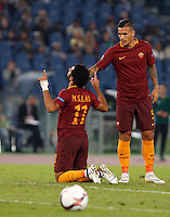 Calcio, Europa League: Roma vs Astra Giurgiu. Roma, stadio Olimpico, 29 settembre 2016.<br /> Roma&rsquo;s Mohamed Salah, left, celebrates with his teammate Leandro Paredes after scoring during the Europa League Group E soccer match between Roma and Astra Giurgiu at Rome's Olympic stadium, 29 September 2016. Roma won 4-0.<br /> UPDATE IMAGES PRESS/Riccardo De Luca