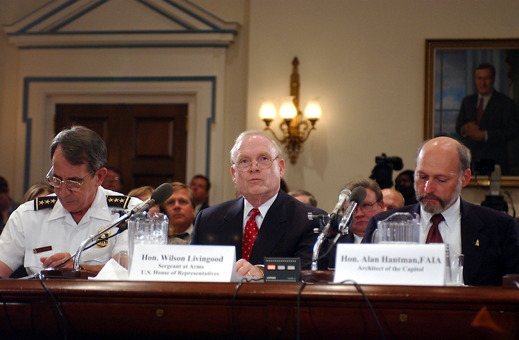 Security2_091002 -- Robert Howe, assistant Chief of Police, United States Capitol Police, Wilson Livingood Sergeant at Arms, U.S. House of Representatives and Alan Hantman, FAIA, Architect of the Capitol, during the hearing on Capitol security, emergency preparedness and infrastructure upgrades since September 11 2001.
