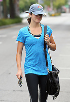 Nikki Reed seen leaving the gym in a bright blue shirt and with baseball cap. Los Angeles, California on 4.6.2012..Credit: Correa/face to face.. / Mediapunchinc ***ONLINE ONLY NO PRINT****