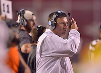 STAFF PHOTO BEN GOFF  @NWABenGoff -- 09/20/14 <br /> Arkansas coach Bret Bielema directs his team during the fourth quarter of the game against Northern Illinois in Reynolds Razorback Stadium in Fayetteville on Saturday September 20, 2014.