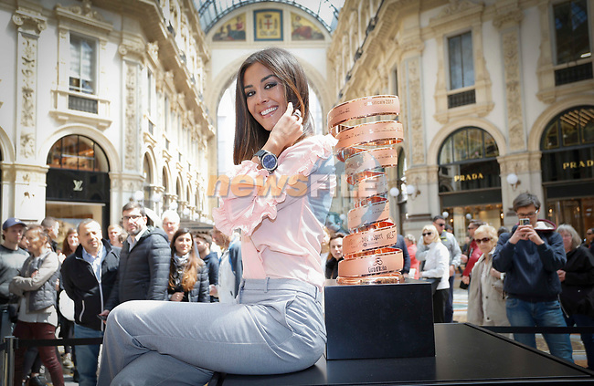 From today and for the next month fans and tourists can admire the Trofeo Senza Fine in Milan&rsquo;s Galleria Vittorio Emanuele II. The trophy for the winner of the Giro d&rsquo;Italia was unveiled in the gallery by the event&rsquo;s Madrina Giorgia Palmas during the inaugural ceremony. Milan, Italy. 28th April 2017.<br /> Picture: LaPresse | Cyclefile<br /> <br /> <br /> All photos usage must carry mandatory copyright credit (&copy; Cyclefile | LaPresse)