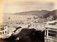 BNPS.co.uk (01202 558833)<br /> Pic: DominicWinterAuction/BNPS<br /> <br /> View east from central Hong Kong island.<br /> <br /> Revealed - A fascinating photo album from the very early days of British Hong Kong...long before the skyscrapers covered it over.<br /> <br /> The 150 year old photos of Hong Kong taken by one of the first British photographers to venture to the Far East have emerged for sale for £15,000.<br /> <br /> John Thomson, who was also a geographer, left Edinburgh for Singapore in 1862 and spent the following decade travelling the region.<br /> <br /> He explored a decidely low-rise Hong Kong from 1868 to 1870, taking numerous pictures of the rapidly expanding settlement and its industrious inhabitants.<br /> <br /> They capture the area, which is currently engulfed in unrest and protest, at a far more tranquil time.<br /> <br /> The photos are being sold with auction house Dominic Winter, of Cirencester, Gloucs.