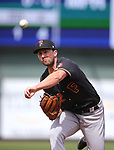 Fresno Grizzlies' Kent Emanuel pitches against the Reno Aces in Reno, Nev., on Monday, April 9, 2018. <br /> Photo by Cathleen Allison/Nevada Momentum