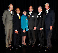 2009 inductees of the Wisconsin Athletic Hall of Fame - Left to right: Ab Nicholas, Lee Kemp, Judy Sweet, Barry Alvarez, Bob Harlan, and John Powless