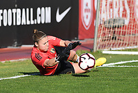 20200307  Parchal , Portugal : Belgian goalkeeper Justien Odeurs (1) pictured during warming up of the female football game between the national teams of Belgium called the Red Flames and Portugal on the second matchday of the Algarve Cup 2020 , a prestigious friendly womensoccer tournament in Portugal , on saturday 7 th March 2020 in Parchal , Portugal . PHOTO SPORTPIX.BE | DAVID CATRY