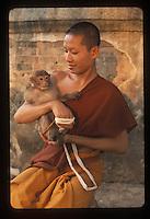 Monk with monkey