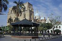 Parque Calderon and the new cathedral or Catedral de la Inmaculada Concepcion in Cuenca, Ecuador