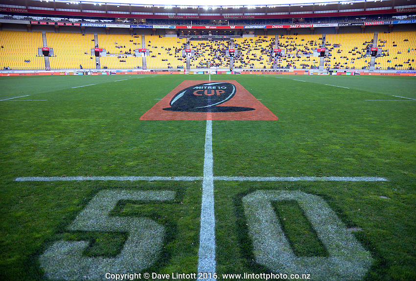 A general view of the pitch before the Mitre 10 Cup rugby union match between Wellington Lions and North Harbour at Westpac Stadium, Wellington, New Zealand on Saturday, 3 September 2016. Photo: Dave Lintott / lintottphoto.co.nz