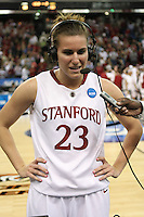 SACRAMENTO, CA - MARCH 29: Jeanette Pohlen is interviewed by the press after Stanford's 55-53 win over Xavier in the NCAA Women's Basketball Championship Elite Eight on March 29, 2010 at Arco Arena in Sacramento, California.