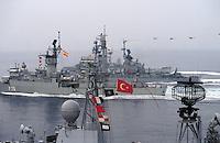 - Ships of NATO naval force STANAVFORMED (Standing Naval Force Mediterranean) in navigation, in first plain the Turkish frigate Yldirim....- Navi della forza navale NATO STANAVFORMED (Standing Naval Force Mediterranean) in navigazione, in primo piano la fregata turca Yldirim