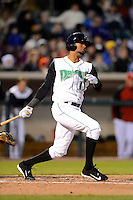 Dayton Dragons second baseman Robert Ramirez #13 during a game against the Bowling Green Hot Rods on April 20, 2013 at Fifth Third Field in Dayton, Ohio.  Dayton defeated Bowling Green 6-3.  (Mike Janes/Four Seam Images)