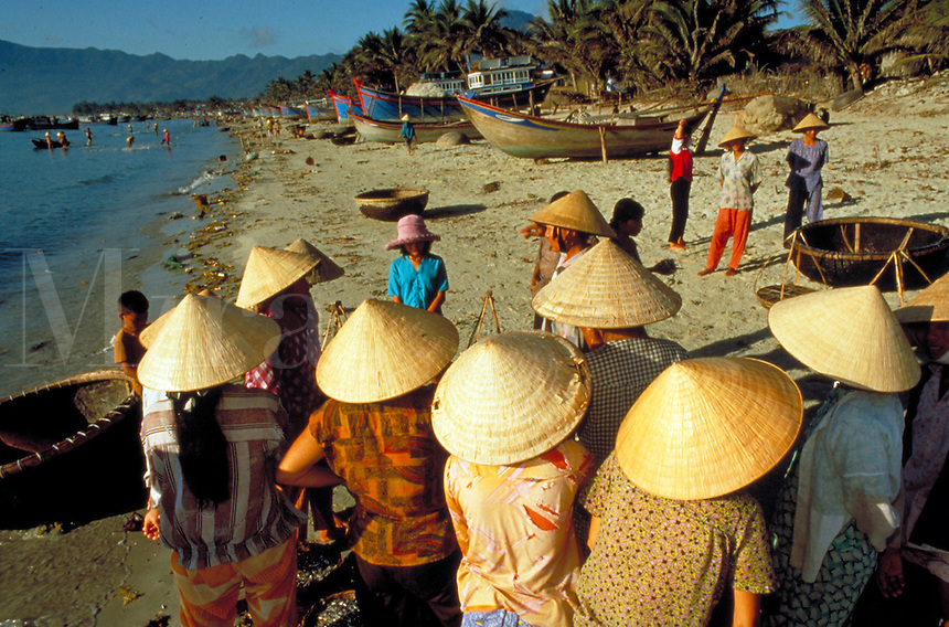 Villagers from Doc Let, Vietnam fish the South China Sea. Vietnam.