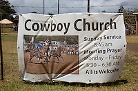 The sign for the King's Cathedral Cowboy Church outside the Oskie Rice Arena on Olinda Road, Makawao, Maui.