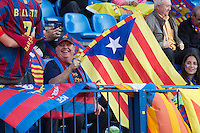 "Fans of FC Barcelona with "" Estelada"""