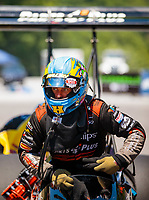 Jun 16, 2018; Bristol, TN, USA; NHRA top fuel driver Clay Millican during qualifying for the Thunder Valley Nationals at Bristol Dragway. Mandatory Credit: Mark J. Rebilas-USA TODAY Sports