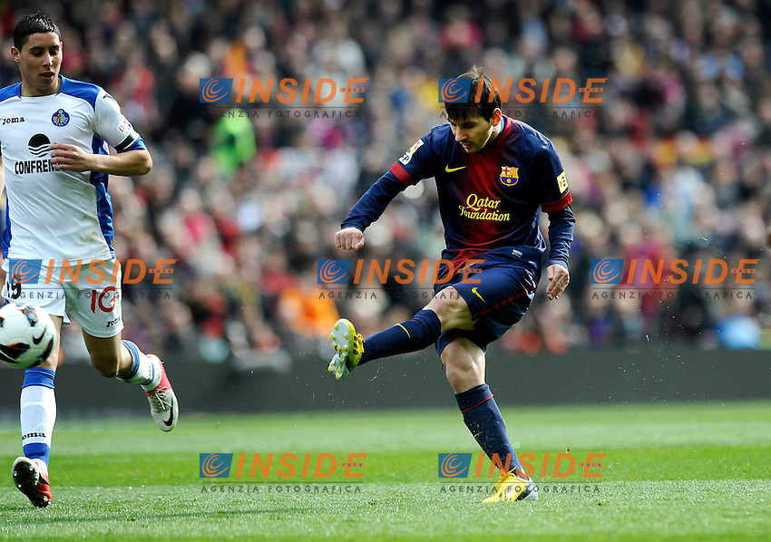 .Lionel Messi  Barcellona )..Action .Football Calcio 2012/2013 La Liga Spagna .Barcellona Vs Getafe .Foto Panoramic / Insidefoto .ITALY ONLY