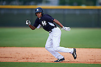 GCL Yankees 1 outfielder Leonardo Molina (61) goes on the pitch during a game against the GCL Yankees 2 on July 29, 2015 at the Yankee Minor League Complex in Tampa, Florida.  The game was suspended after two innings due to rain.  (Mike Janes/Four Seam Images)