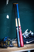 Las Vegas 51s bats and gloves in the dugout during a game against the Oklahoma City Dodgers at Chickasaw Bricktown Ballpark on June 17, 2018 in Oklahoma City, Oklahoma. Oklahoma City defeated Las Vegas 5-3  (William Purnell/Four Seam Images)