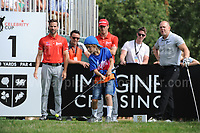 The younger golf fans attempt teeing off from the 1st during The 2017 Celebrity Cup golf tournament at the Celtic Manor Resort, Newport, South Wales. 1.07.2017 <br /> <br /> <br /> Jeff Thomas Photography -  www.jaypics.photoshelter.com - <br /> e-mail swansea1001@hotmail.co.uk -<br /> Mob: 07837 386244 -