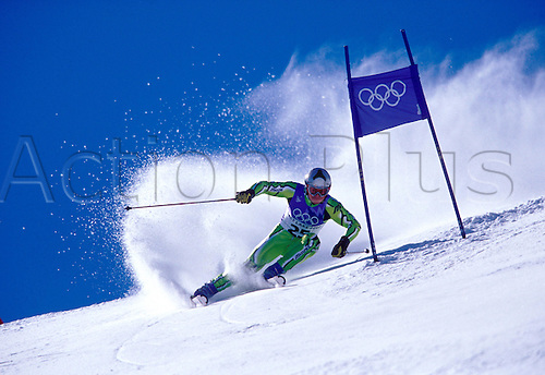 21 February 2002: View of JERNEJ KOBLAR (SLO) competing in the Mens Giant Slalom, Winter Olympic Games, Salt Lake City, USA. Photo: Glyn Kirk/Action plus...skier men snow olympic.020221