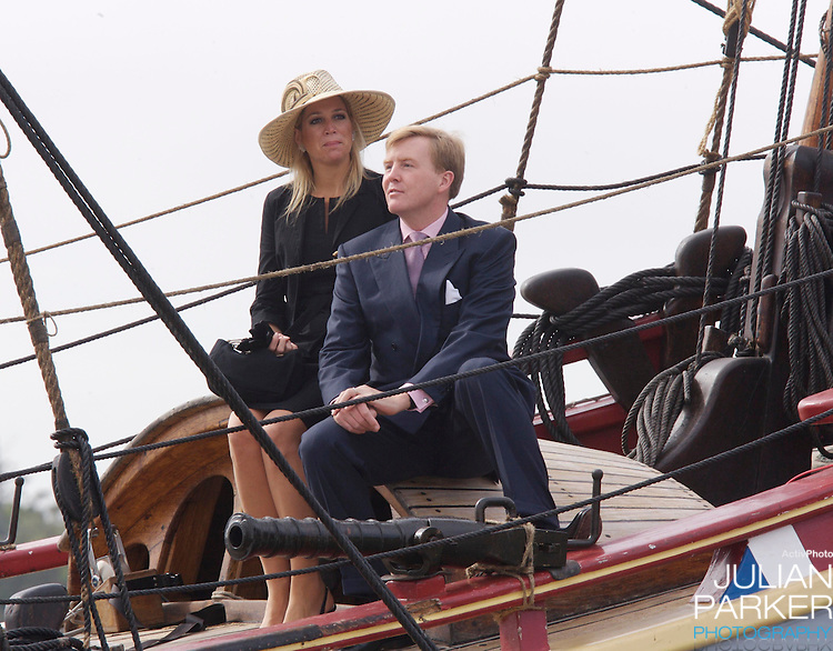 Crown Prince Willem-Alexander & Crown Princess Maxima of the Netherlands six-day tour of Australia..Sailing around Sydney Harbour on Historic Ship The Duyfken..