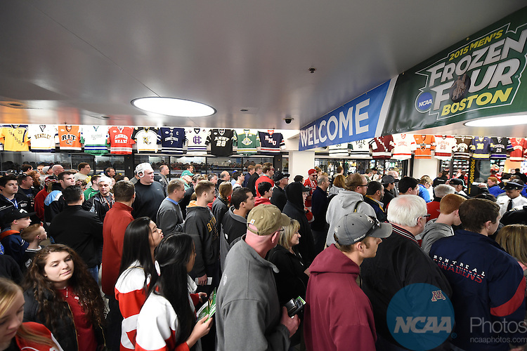 11 APR 2015: Fans anxiously rush the doors  during the Division I Men's Ice Hockey Championship held at the TD Garden in Boston, MA. Brian Babineau/NCAA Photos