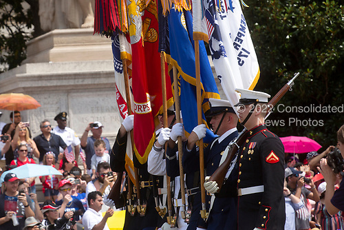 Members of the military march in the 4th of July parade on Constitution Avenue in Washington D.C. on July 4, 2019.<br /> <br /> Credit: Stefani Reynolds / CNP