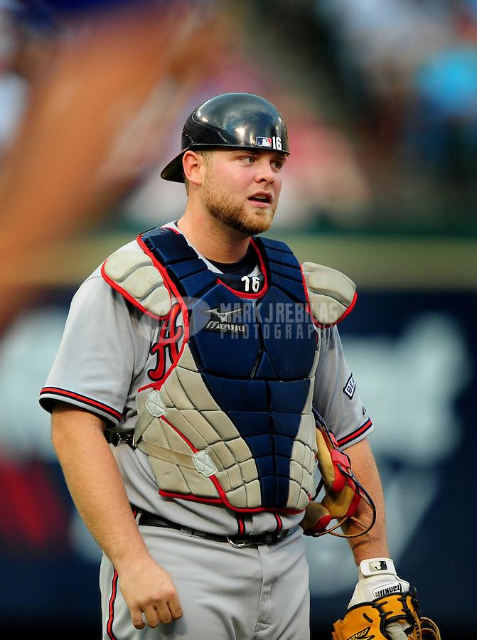 Jun. 17, 2008; Arlington, TX, USA; Atlanta Braves catcher Brian McCann against the Texas Rangers at the Rangers Ballpark. Mandatory Credit: Mark J. Rebilas-