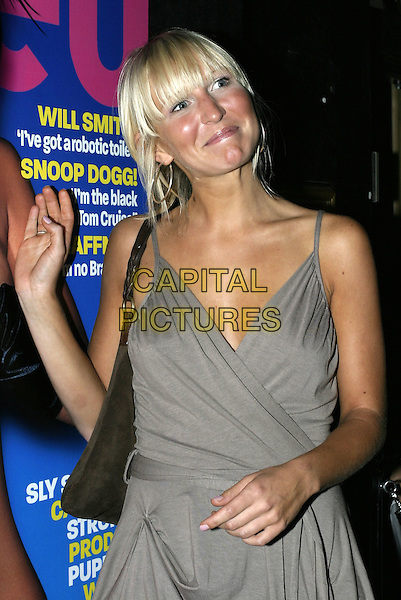 "SHELL JUBIN (BIG BROTHER 5).At Loaded magazine's ""Summer Nudes"" Edition Launch Party at Pangaea Club, Piccadilly, London,.10th August 2004..half length grey wrap around dress funny gold shoes.Ref: AH.www.capitalpictures.com.sales@capitalpictures.com.©Capital Pictures."