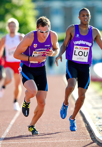 23 MAY 2010 - LOUGHBOROUGH, GBR - David Gillick (Loughborough University) - Mens 4 x 400m relay - Loughborough International Athletics (PHOTO (C) NIGEL FARROW)
